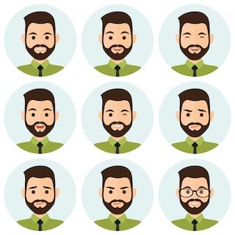 Avatar di espressioni di uomini d'affari