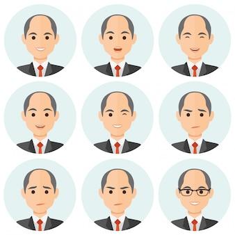 Avatar di espressioni di uomo d'affari