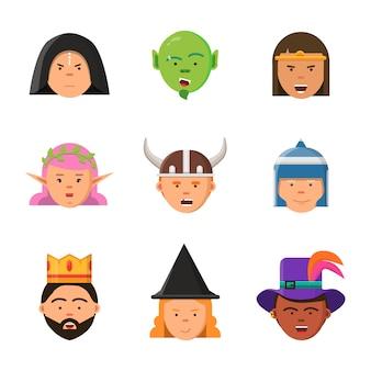 Avatar di gioco fantasy. personaggi fiabeschi elfo mago re guerriero goblin ritratti principessa