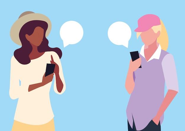Avatar di giovani donne che utilizzano dispositivi smartphone