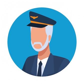 Avatar di lavoratore pilota di aereo di linea