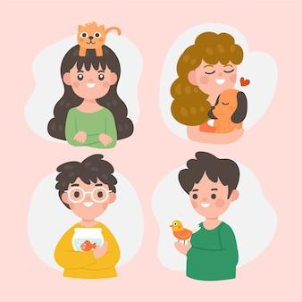 Avatar di persone divertenti con i loro animali domestici