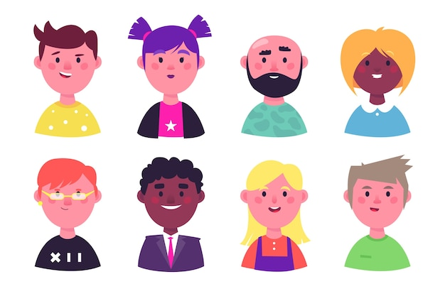 Avatar di persone varietà di personalità
