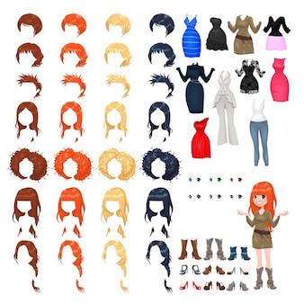 Avatar di una donna vettore oggetti isolati 7 acconciature con 4 colori ognuno 10 abiti diversi 6 occhi colori 9 scarpe