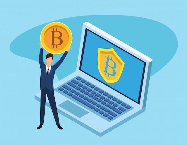 Avatar di uomo d'affari alla ricerca di bitcoin