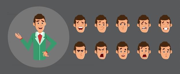 Avatar di uomo d'affari carino con varie emozioni facciali e sincronizzazione labiale