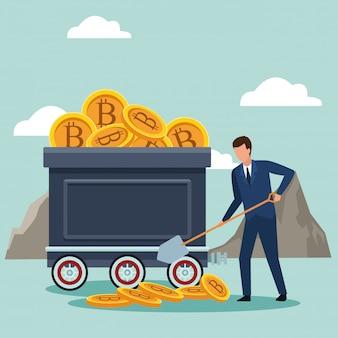 Avatar di uomo d'affari che salva bitcoin in un troller