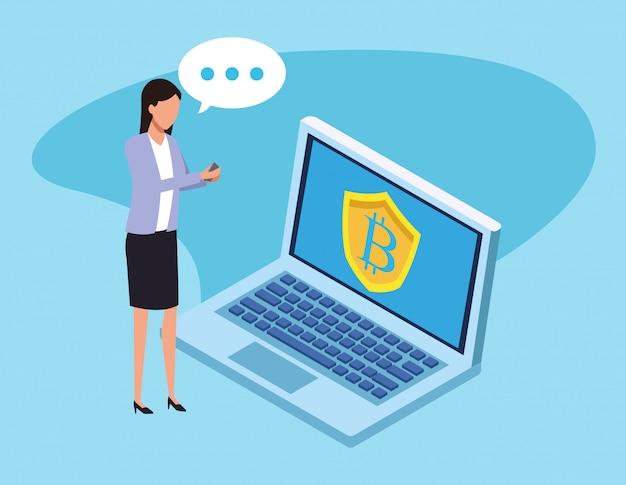 Avatar imprenditrice alla ricerca di bitcoin
