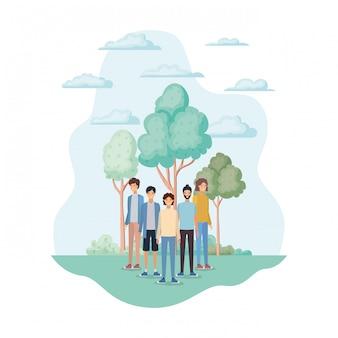 Avatar isolati di uomini nel parco