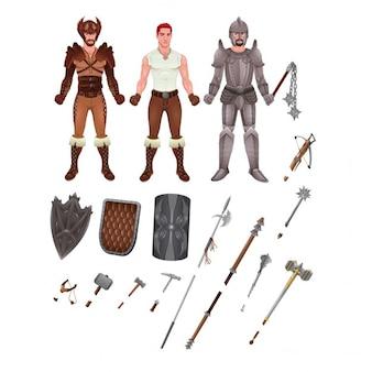 Avatar medievale con armature e armi isolato illustratore oggetti vettore