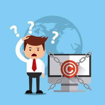 Avatar uomo d'affari con il concetto di copyright