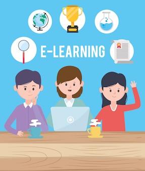 Avatar uomo e donna progettano, imparando il download online leggendo la tecnologia della biblioteca elettronica digitale e il tema dell'educazione