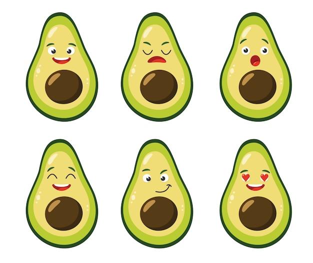 Avocado simpatico cartone animato impostato con emozioni. vector piatta illustrazione.
