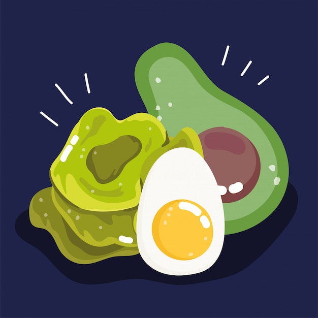 Avocado, uovo sodo e lattuga