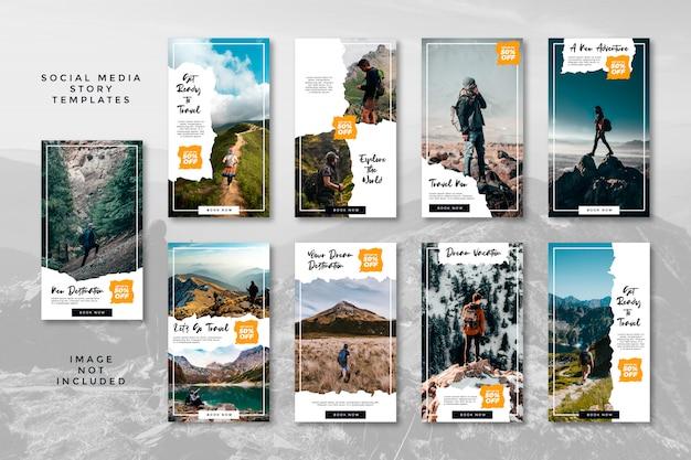 Avventura escursionistica in montagna social media banner storie instagram pacchetto di viaggio