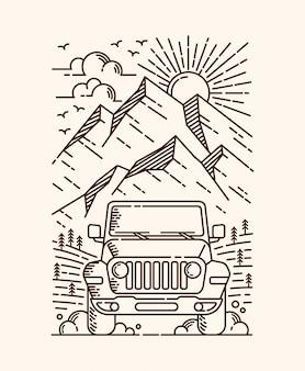 Avventura in auto illustrazione al tratto