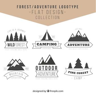 Avventure loghi nella foresta in design vintage