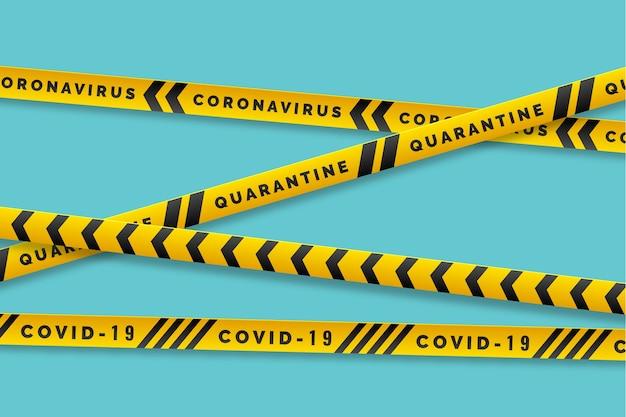 Avvertenza covid-19 con strisce gialle e nere