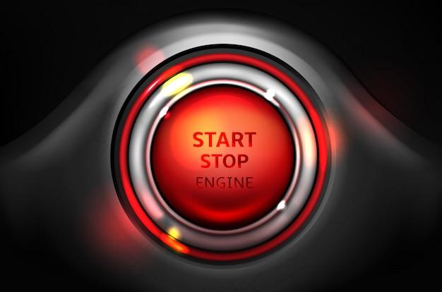 Avvia e ferma l'illustrazione del pulsante di accensione del motore dell'automobile.