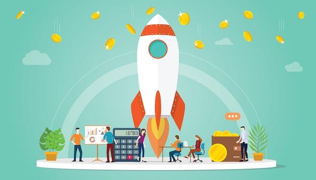 Avvia il concetto di business startup con razzi e denaro finanziario