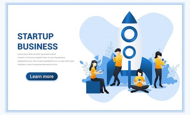 Avvia il concetto di progetto per lo sviluppo e il business delle app mobili. illustrazione