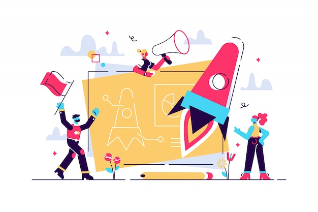 Avvio di un nuovo progetto commerciale. processo di sviluppo. prodotto innovativo, idea creativa. start up launch, start up venture, concetto di imprenditorialità. illustrazione creativa di concetto isolato