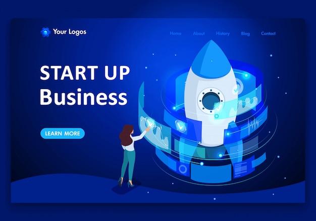Avvio isometrico di un progetto imprenditoriale, una donna d'affari che lavora su una landing page con schermo virtuale