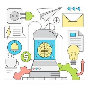 Avvio lineare e illustrazione vettoriale Brainstorming