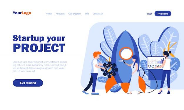 Avvio, pagina di destinazione vettore di creazione progetto con intestazione