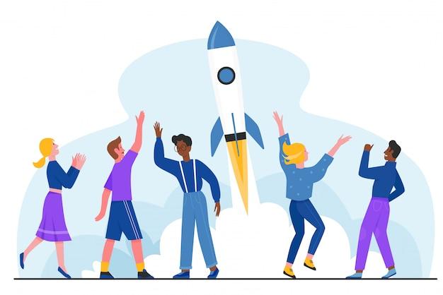Avvio riuscito, avvio dell'illustrazione del progetto. la gente felice piana del fumetto lancia l'astronave del razzo nel cielo, celebrando l'inizio di successo, nuovo concetto creativo dell'innovazione di idea isolato su bianco