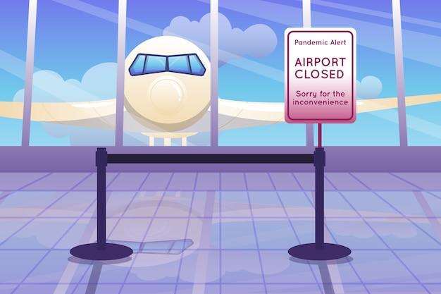 Avviso di pandemia in aeroporto chiuso
