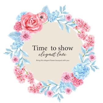 Avvolga con la pittura floreale d'annata dell'acquerello dei lupini, illustrazione dell'ortensia.