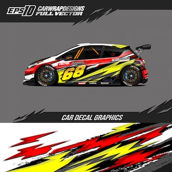 Avvolgere auto sportiva design da corsa astratto