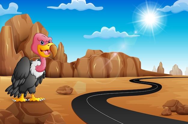 Avvoltoio del fumetto su roccia con la strada vuota nel deserto