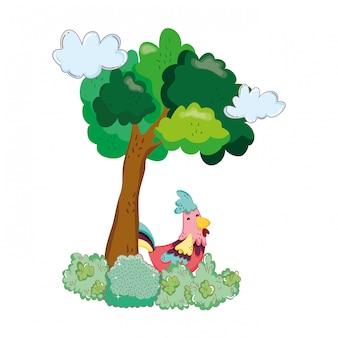 Azienda agricola degli uccelli del gallo con la pianta dell'albero