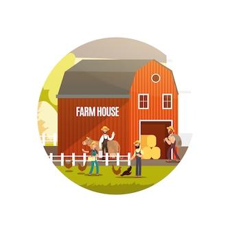 Azienda agricola del fumetto con gli agricoltori, gli animali da allevamento e l'illustrazione dell'attrezzatura. emblema del raccolto