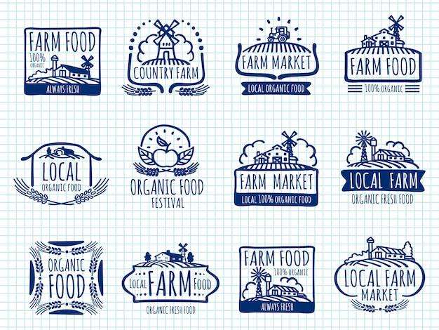 Azienda agricola di doodle della penna a sfera e contrassegni dell'alimento biologico alla pagina del taccuino