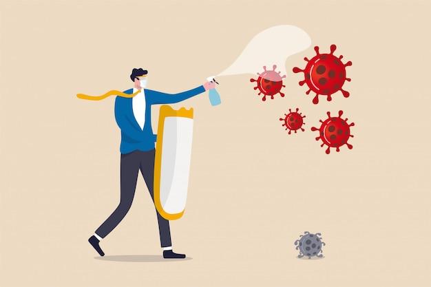 Azienda commerciale per combattere e prosperare nell'epidemia di coronavirus concetto di crisi economica covid-19, capo uomo d'affari equipaggiamento protettivo completo che tiene forte scudo e disinfettante spray combattere con virus.