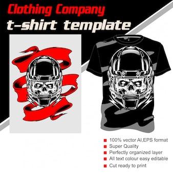Azienda di abbigliamento, modello t-shirt, casco da baseball con teschio