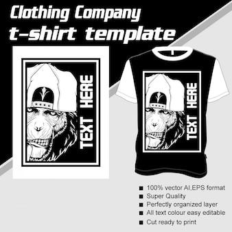 Azienda di abbigliamento, modello t-shirt, scimmia