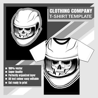 Azienda di abbigliamento, modello t-shirt, teschio che indossa il disegno a mano casco