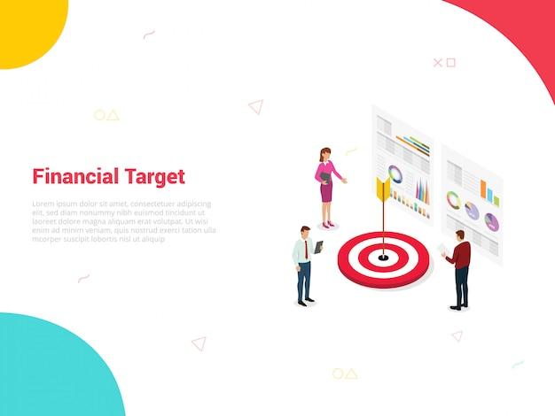 Azienda di destinazione finanziaria con big data e persone dell'ufficio del team intorno ad esso