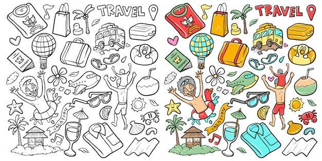Azione della vacanza disegnata a mano di vettore e scarabocchio isolato viaggio