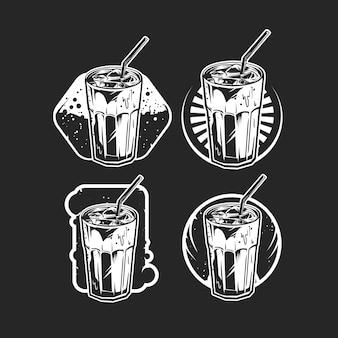 B & w distintivo di caffè freddo impostato su oscurità