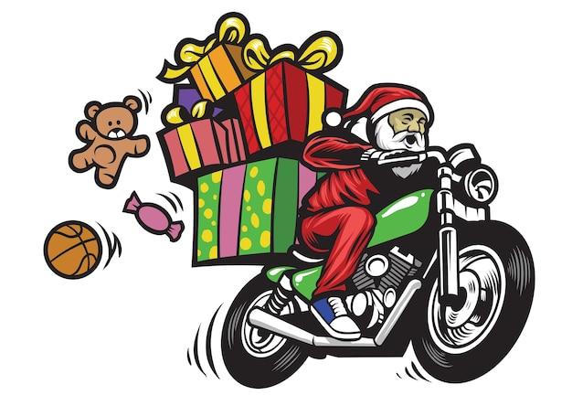 Babbo natale che consegna il natale dà in sella a una moto