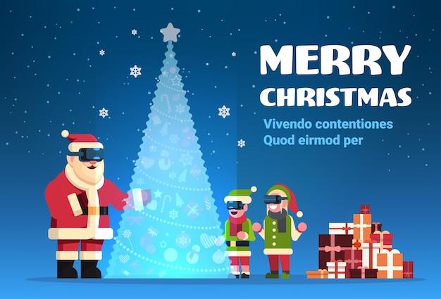 Babbo natale con gli elfi indossa occhiali digitali cercando realtà virtuale abete buon natale felice anno nuovo vacanza