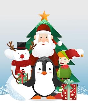 Babbo natale con simpatico pinguino ed elfo e pupazzo di neve