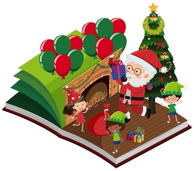 Babbo natale e bambini felici nel libro