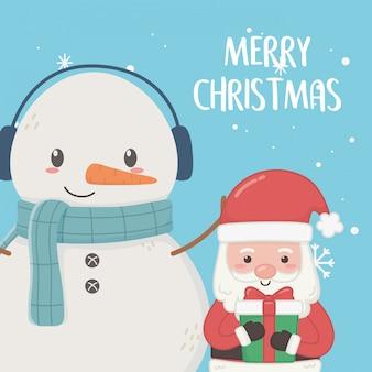 Babbo natale e pupazzo di neve con sciarpa buon natale card