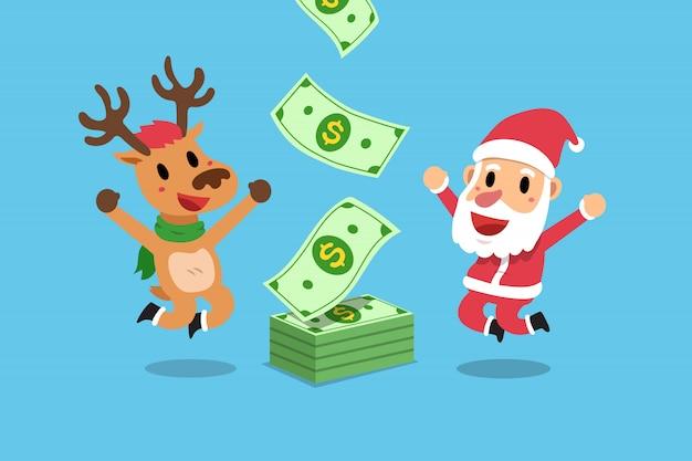 Babbo natale e renne guadagnare soldi